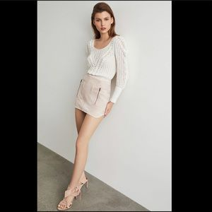 BCBG Max Azia Draped Shoulder Plaited Sweater